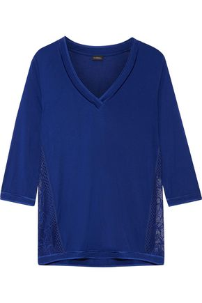 LA PERLA Myrta lace-paneled modal-blend pajama top