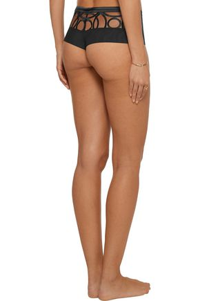 LA PERLA Circles  mid-rise embroidered stretch-tulle briefs
