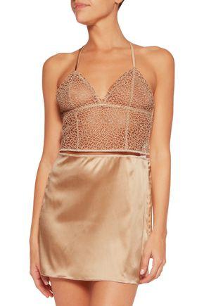LA PERLA Circles guipure lace and stretch-silk satin chemise