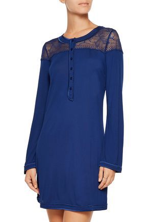 LA PERLA Myrta lace-paneled modal-blend nightdress
