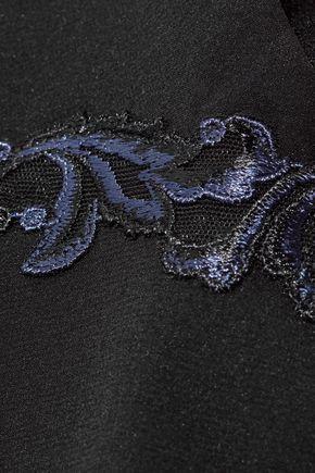 LA PERLA Secret Story lace-trimmed stretch silk-blend crepe de chine chemise