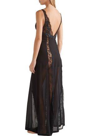 LA PERLA Secret Story embroidered Leavers lace and tulle-paneled silk-blend georgette nightdress
