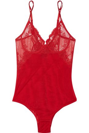 LA PERLA Primula embroidered stretch-tulle bodysuit
