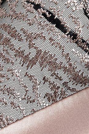 LA PERLA Feline Chic satin and embroidered tulle soft-cup triangle bra
