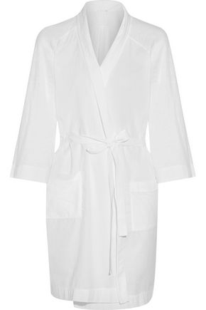 SKIN Cotton-voile and jersey robe