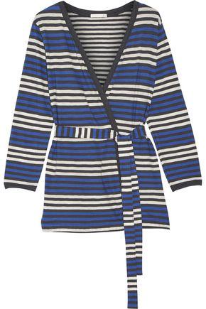 SKIN Bianca striped cotton-jersey robe