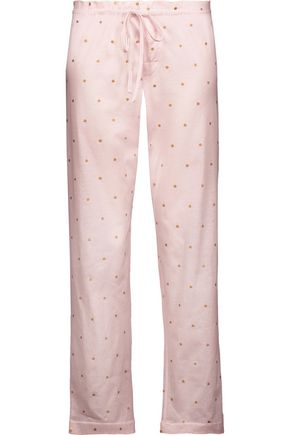 BODAS Metallic polka-dot cotton-jersey pajama pants