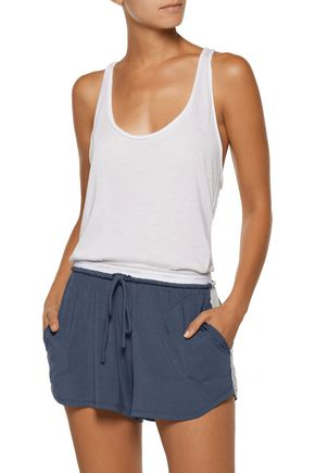 DKNY Striped stretch-modal jersey pajama shorts