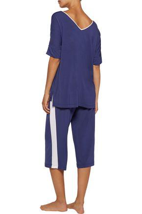 DKNY Striped stretch-modal jersey pajama pants