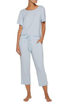 DKNY Capri cropped printed stretch-modal pajama pants
