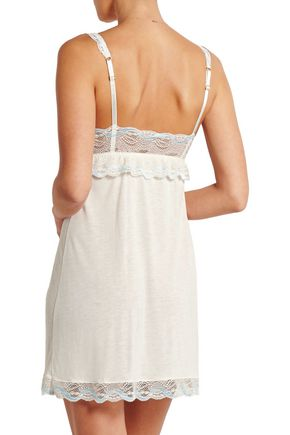 EBERJEY Something Blue lace-trimmed jersey chemise