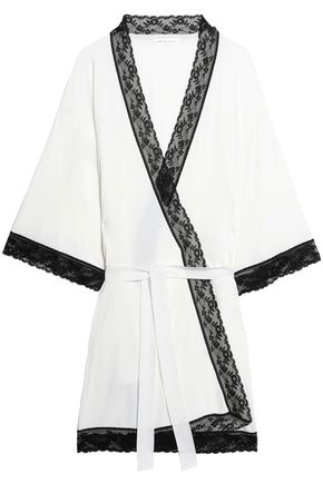 MIMI HOLLIDAY by DAMARIS Lace-trimmed cady robe