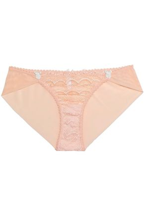 MIMI HOLLIDAY by DAMARIS Lace and stretch-tulle low-rise briefs