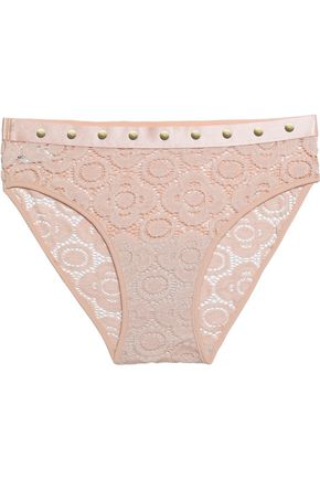 MIMI HOLLIDAY by DAMARIS Studded lace mid-rise briefs