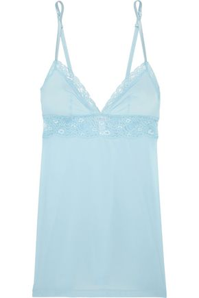 LA PERLA Airy Blooms Leavers lace-trimmed stretch-jersey chemise