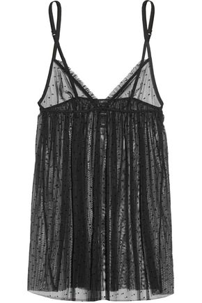 LA PERLA Plumetis stretch point d'esprit tulle chemise