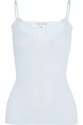 HANRO Valencia lace-trimmed ribbed cotton-jersey camisole