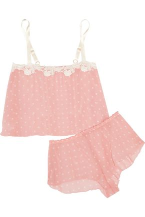 HANKY PANKY Darlington lace-trimmed polka-dot chiffon pajama set