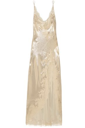 CARINE GILSON Chantilly lace-trimmed silk-lamé nightdress