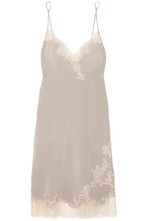 CARINE GILSON Louisine Chantilly lace-trimmed silk-satin chemise
