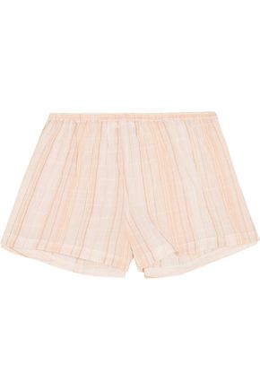 SKIN Crinkled cotton-blend gauze pajama shorts