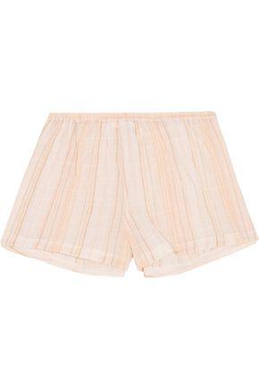 SKIN Crinkled cotton-blend gauze pajama shorts
