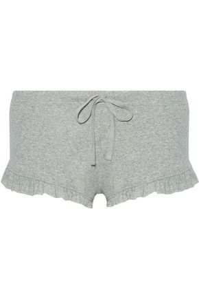 SKIN Ruffle-trimmed ribbed Pima cotton pajama shorts