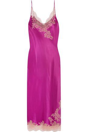 CARINE GILSON Lace-trimmed silk-twill nightdress