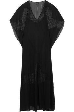 CARINE GILSON Chantilly lace-paneled silk crepe de chine nightdress