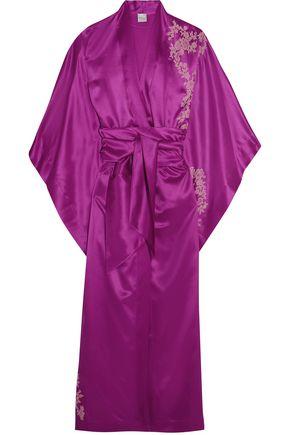 CARINE GILSON Lace-trimmed silk-twill kimono