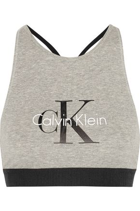 CALVIN KLEIN UNDERWEAR Printed stretch-cotton bra