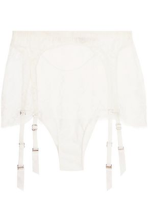 AGENT PROVOCATEUR Ismeralda Leavers lace and stretch-tulle suspender belt briefs