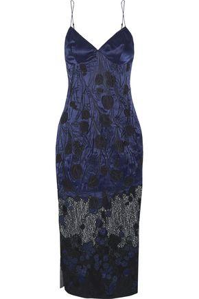 AGENT PROVOCATEUR Anissa appliquéd silk-satin and lace slip