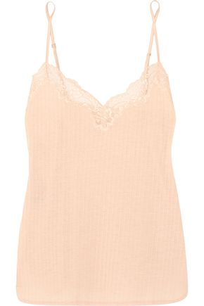 STELLA McCARTNEY Lily Blushing lace-trimmed ribbed jersey camisole