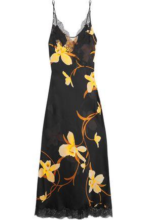 CARINE GILSON Lace-trimmed printed silk-chiffon nightdress