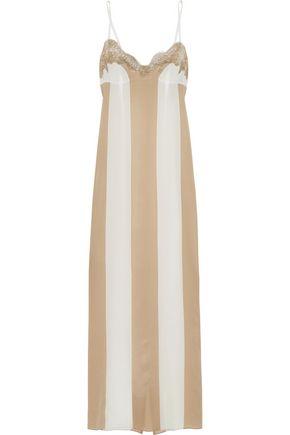 ROSAMOSARIO Emiro Love lace-trimmed striped silk-crepe nightdress