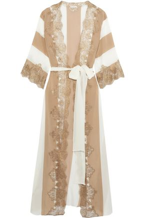ROSAMOSARIO Emiro Love metallic lace-trimmed crepe de chine robe