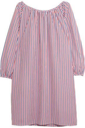 SLEEPY JONES Lily striped cotton-piqué nightdress