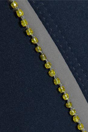 NO KA 'OI Lani  cropped bead-embellished stretch-jersey sports bra