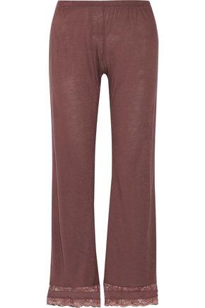 EBERJEY Saskia lace-trimmed stretch-jersey pajama pants