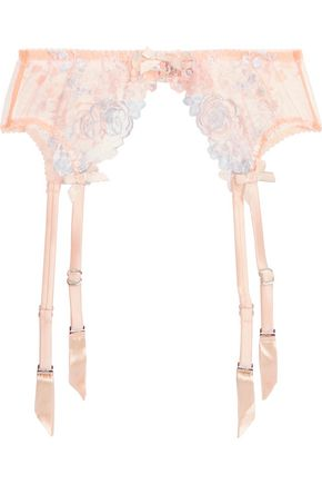 AGENT PROVOCATEUR Odette stretch silk satin-trimmed embroidered tulle suspender belt