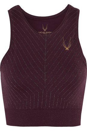 LUCAS HUGH Stardust metallic stretch-jersey sports bra
