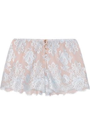ROSAMOSARIO Sweet Sumatra lace and silk-chiffon pajama shorts
