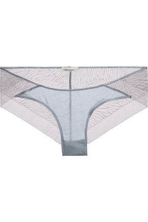 SKIN Organic Pima cotton-jersey and tulle briefs