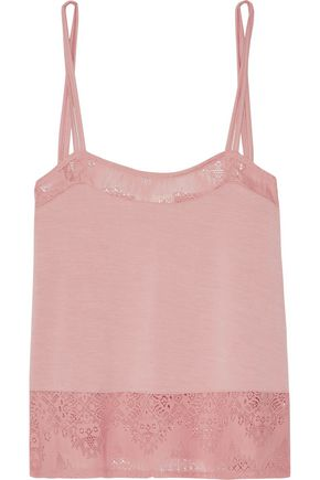 SKIN Lace-trimmed stretch-jersey pajama top