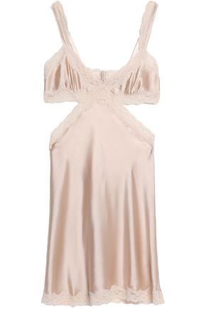 STELLA McCARTNEY Cutout lace-trimmed silk-satin slip dress
