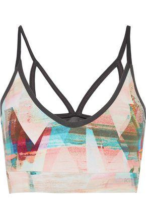 BODYISM I Am Calm mesh-paneled printed stretch-jersey sports bra