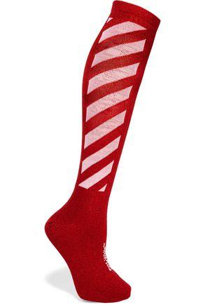 OFF-WHITE™ Metallic striped cotton-blend socks