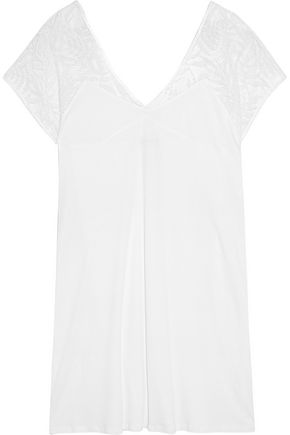 HANRO Anna embroidered tulle-paneled cotton-jersey nightdress