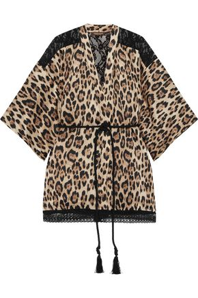 ROBERTO CAVALLI Leopard-print silk-blend satin and lace robe